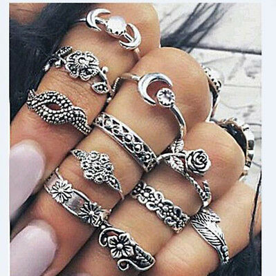 11pcs Vintage Bohemian Leaf Crystal Flower Moon Joint Knuckle Ring Set for Women