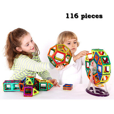 116pcs Magnetic Building Blocks Construction Children Toy Kid Educational Block