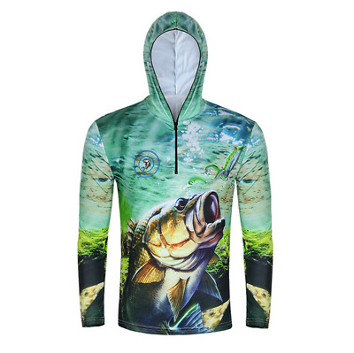 Men Long Sleeve Fishing Sun Shirt Quick Dry Breathable Hooded Tops UV Protection