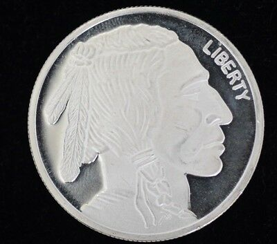 Liberty Indian Head Buffalo Bullion  - 1 Oz. Troy 99.9% Pure Silver Round