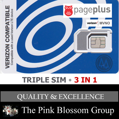 PAGE PLUS TRIPLE SIM CARD • MINI 2FF MICRO 3FF NANO • CDMA  4GLTE Verizon MVNO