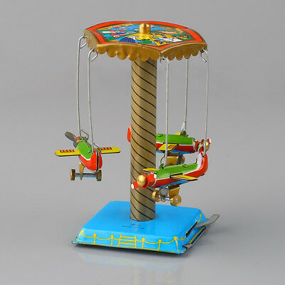 Vintage Wind Up Fairground Carousel Airplanes Planes Mechanical Tin Toy Gift