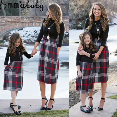 Mommy and Me Outfits Mother Daughter Matching Girl Striped Dress Family Outfits