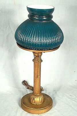 ANTIQUE EARLY 20th CENTURY ART NOUVEAU COLUMN LAMP WITH RIBBED GREEN SHADE