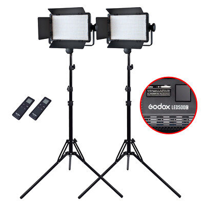 2X Godox LED500C 3300K~5600K 2900Lux LED Video Light Panel + 185cm Reverse Stand