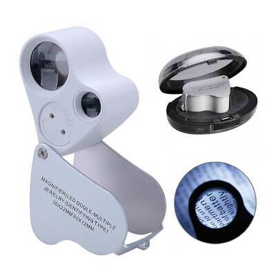 30/60X Magnifying Jewelry Magnifier Jeweller Eye Glass Lens Loupe with LED Light