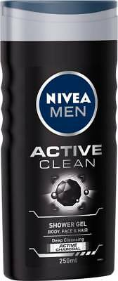 Nivea Men Active Clean Shower Gel, 250ml Body Face & Hair Deep Cleansing