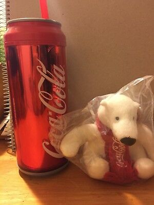 Coca-Cola Can Look Travel Cup 16oz Tumbler Double Wall Insulated-with Coke Bear