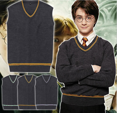 Anime harry potter V-neck knitted sweater cosplay sleeveless jacket knitwear New
