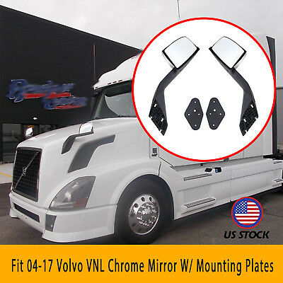 2x Fit 04-2017 Volvo VNL Hood Left Right Chrome Cover Mirrors W/ Mounting Plates