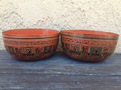 (2) ANTIQUE 19th C LACQUERED HORSEHAIR & BAMBOO BOWLS from BURMA, THITSI JUICE