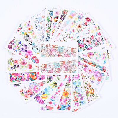 LEMOOC 8 Sheets Nail Water Decals Blooming Flowers Nail Art Transfer Stickers