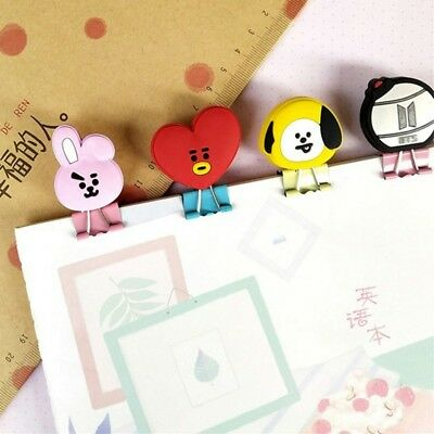 2pcs Kpop BTS Bangtan Boys Cartoon Metal Binder Clips Stationery TATA MANG VAN