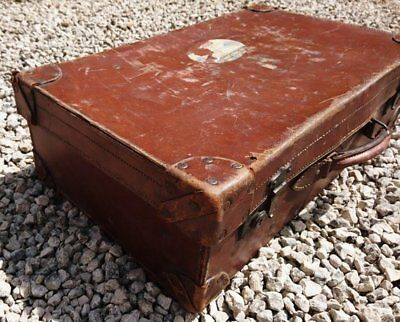 Antique leather suitcase, large English rustic, tan leather travel case, hand to