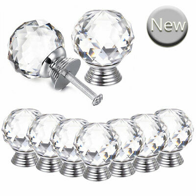 20x Crystal Door Knobs Transparent Glass Clear Cabinet Drawer Handle 30MM +Screw