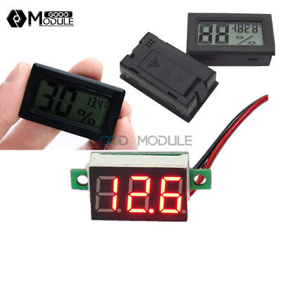 Digital Red LED Voltmeter Meter LCD Temperature Humidity Thermometer Hygrometer