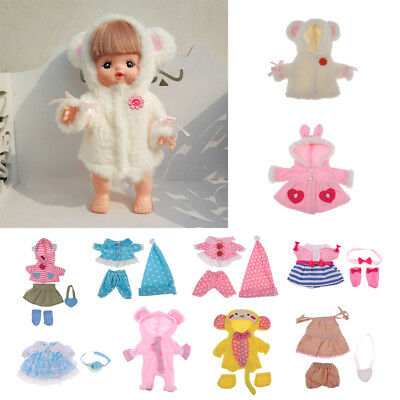 10 Patterns Clothes Suit for Mellchan Baby Doll 9-11inch Girl Doll Jumpsuit Hat
