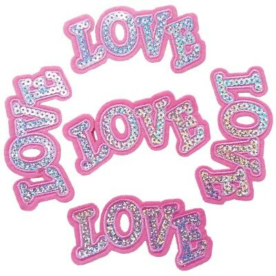 Sequin Pink Love Sew on/Iron on Embroidered  Patch Diy Craft Clothes Applique