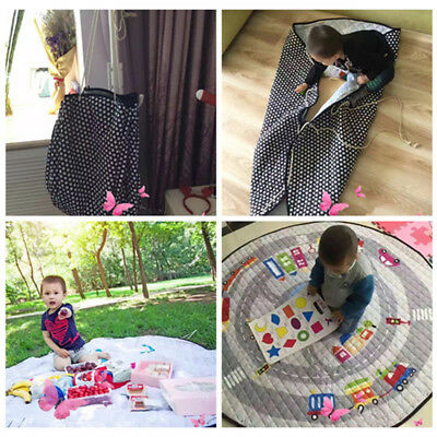 Portable Baby Child Play Mat Blanket Toy Storage Bag In/Outdoor Cotton 58x58Inch