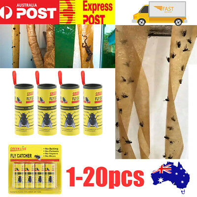 20 Rolls Insect Bug Fly Glue Paper Catcher Trap Ribbon Strip Sticky Tape Flies M