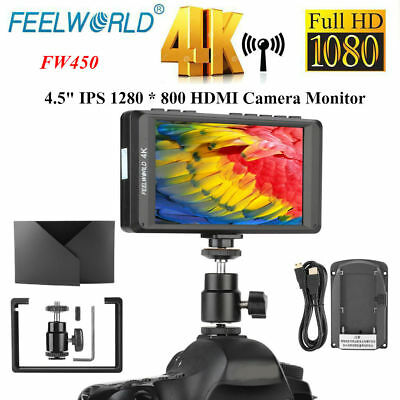 Feelworld FW450 4.5inch HD IPS 4K HDMI Camera Field Monitor Set for DSLR Cameras