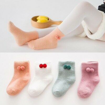 Children Boy Girl Knee Ankle Socks Pompom Ball Warmer Hose Star Leg Solid Color