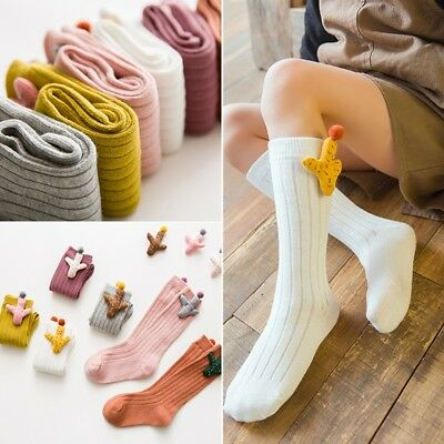 Toddler Baby Girl Knee High Cotton Sock Patched Cactus Long Tube Leg Warmer Hose