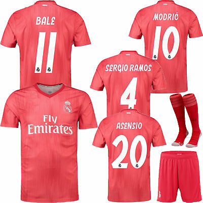 18/19 Soccer Outfits Short Sleeve Red 2nd Away Kit For Kids 3-12 Yrs Jersey+Sock