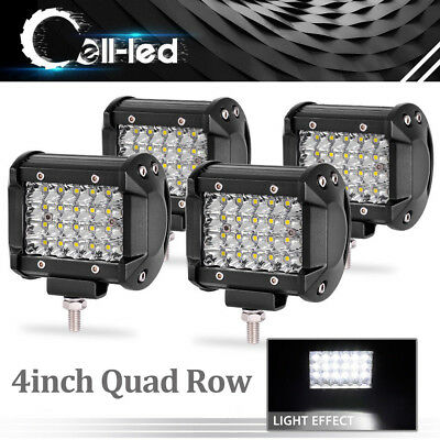 "4x 4"" INCH 144W LED Light Bars Quad Row Pods Truck 4WD Boat ATV Off-Road Jeep"
