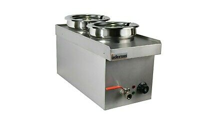 NAT GAS Commercial Wet BAIN MARIE with TAP  2 x 7L Round Pots - GAS  2018