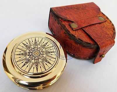Maritime Brass Compass Robert Frost Poem in Designer Brass Work Leather Case