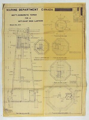 Original Lighthouse Construction Blueprint Marine Department of Canada