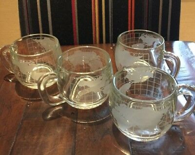 Vintage Nestle Nescafe Etched Frosted World Globe Glass Mugs Cups Set of 4
