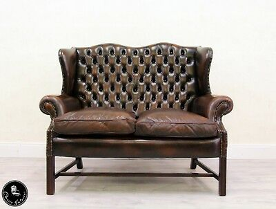 Chesterfield Couch Englisch Chippendale Sofa Leder Antik Vintage