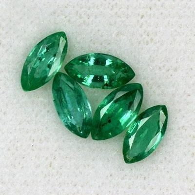 2.43 cts Natural Top Color Green Emerald Gemstone Marquise Cut 5 pcs. 8 X 4 MM