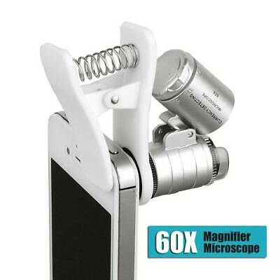 Clip On 60x Cell Phone Camera Ipad Magnifier Microscope Loupe W/ UV LED Lights
