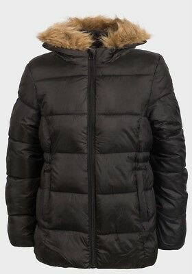 Girls Coat Winter Puffa Jacket Hooded School Warm Quilted Kids Fur ExStore Black