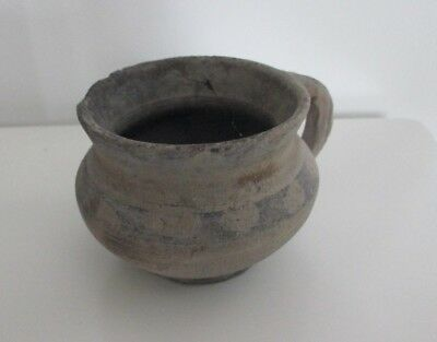Rare small ceramic clay pot with ornament. Trypillian Culture 3-4 millenia BC