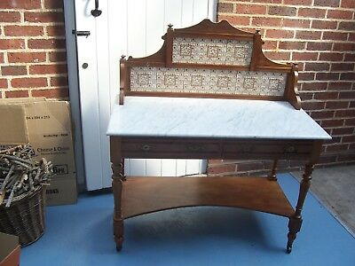 Antique pine & marble wash stand with tiled back 106.5 wide x 51 deep x 77.5 Hi