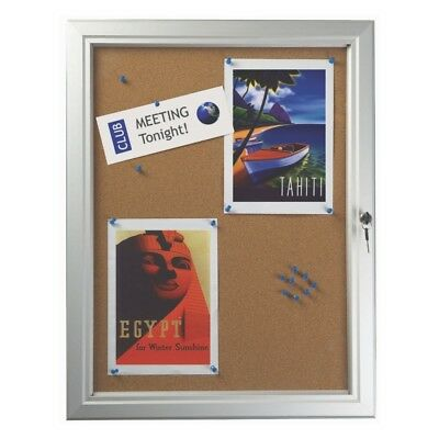 Outdoor Cork Back Notice Boards Menu Cases Lockable Aluminium Frame Silver