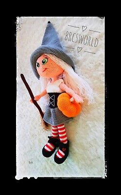Handmade amigurumi witch halloween 35 cm washable