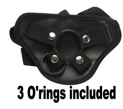 Strapon Strap On Harness in BLACK with padded front and 3 O rings fifty