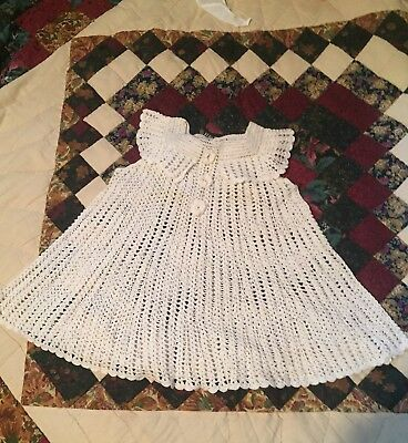 FANTASTIC! Vintage Infant Baby Sm Toddler Dress KNIT Lace  WHITE 1950s Or Older?