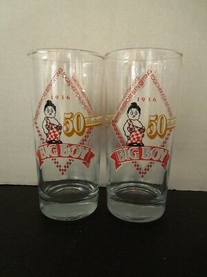 Vtg 2 Frisch's Big Boy 1936 to 1986 Commemorative 50th Anniversary Glass Tumbler
