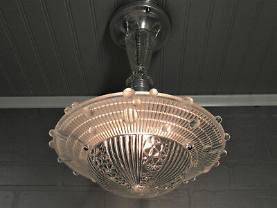 Vintage Antique Art Deco Retro Ceiling Light Fixture Bubble Glass Hobnail Shade