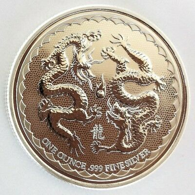 1 oz. 1 Unze Silber 999 Niue Islands **Double Dragon** 2018