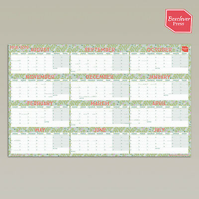 Boxclever Press Academic Wall Planner 18/19. 70 x 43 cm. Laminated/unlaminated