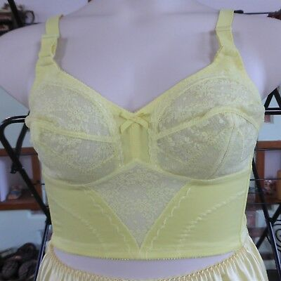 Vintage Hand Dyed Yellow   Long Line Lace Bra 36 C