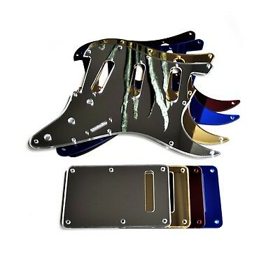 MIRROR Strat Stratocaster Electric Guitar Pickguard Scratch Plate Back Plate