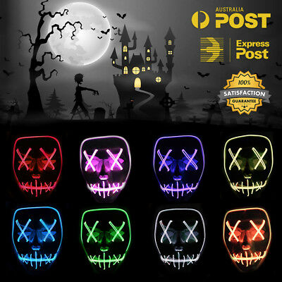 LED Scary Halloween Mask EL Wire Light up Masks EDM Party Cosplay Costume Purge